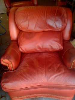 Leather Chair Body Oil Damage Repair Amp Redyed New Foam